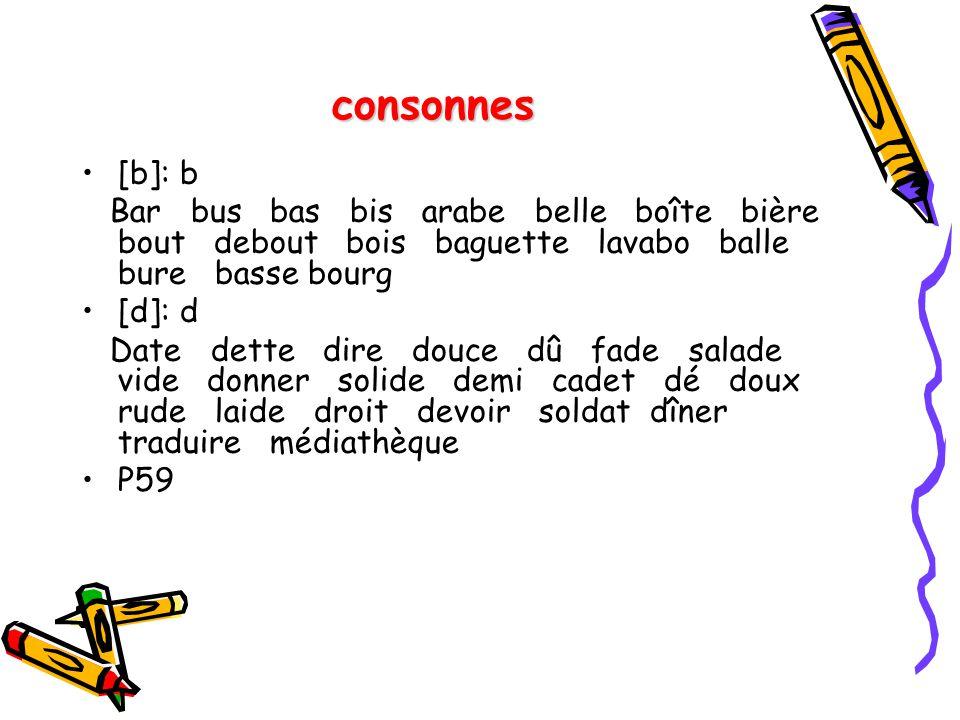 consonnes [b]: b. Bar bus bas bis arabe belle boîte bière bout debout bois baguette lavabo balle bure basse bourg.